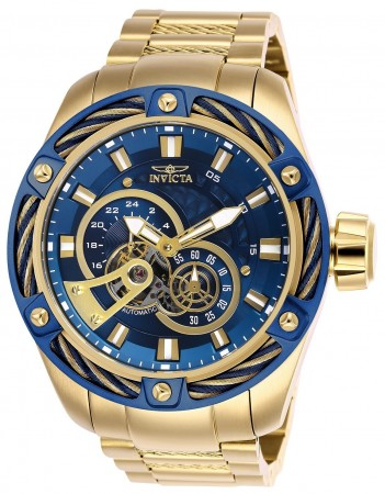 Men's Bolt Blue Dial Gold Stainless Steel Band Automatic Watch
