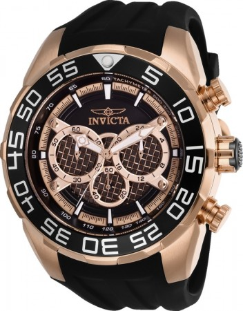 Men's Speedway Rose Gold Dial Black Silicon Band Quartz Watch