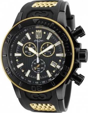 Men's Jason Taylor Black Dial Black/Gold Polyurethane/Stainless Steel Band Quartz Watch