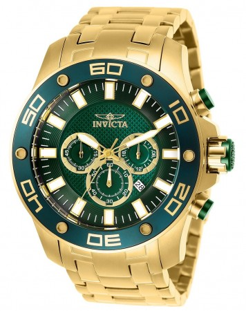 Men's Pro Diver Scuba Green Dial Gold Stainless Steel Band Quartz Watch