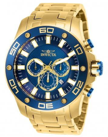 Men's Pro Diver Scuba Blue Dial Gold Stainless Steel Band Quartz Watch