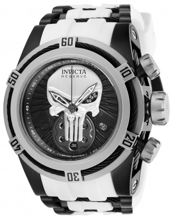 Men's Marvel Black Dial White Stainless Steel Band Quartz Watch