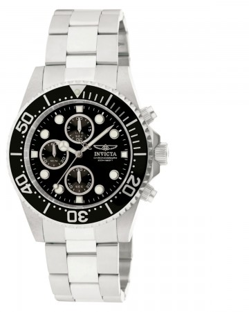 Men's Pro Diver Black Dial Stainless Steel Stainless Steel Band Quartz Watch