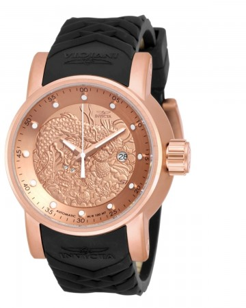 Men's S1 Rally Rose Gold Dial Black Polyurethane Band Automatic Watch