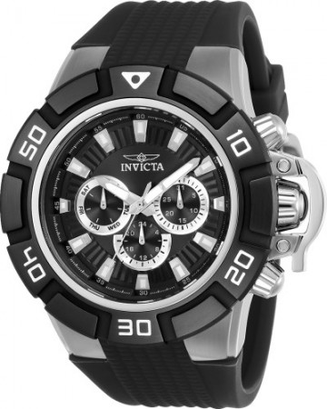 Men's I-Force Black Dial Black Silicon Band Quartz Watch