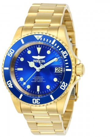 Men's Pro Diver Blue Dial Gold Stainless Steel Band Automatic Watch