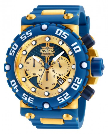 Men's Subaqua Gold Dial Blue/Gold Stainless Steel Band Quartz Watch