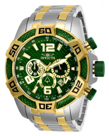 Men's Pro Diver Scuba Green Dial Gold/Stainless Steel Stainless Steel Band Quartz Watch