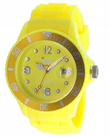 Men's Ice-Flashy Big Neon Yellow Dial Watch