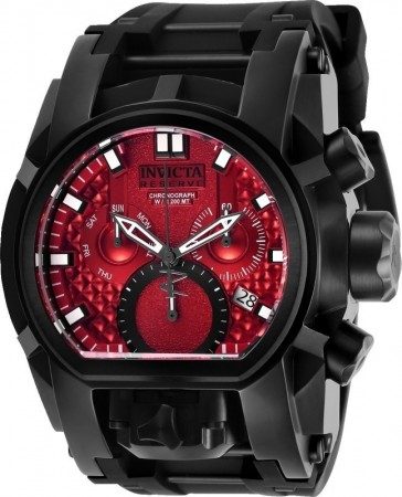 Men's Reserve Red Dial Black Stainless Steel Band Quartz Watch