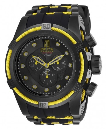 Men's Jason Taylor Black Dial Black/Yellow Stainless Steel Band Quartz Watch