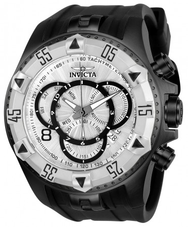 Men's Excursion Silver Dial Black Silicon Band Quartz Watch