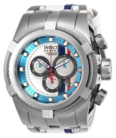 Men's Reserve Race Team Blue Dial Blue/Stainless Steel Leather/Stainless Steel Band Quartz Watch