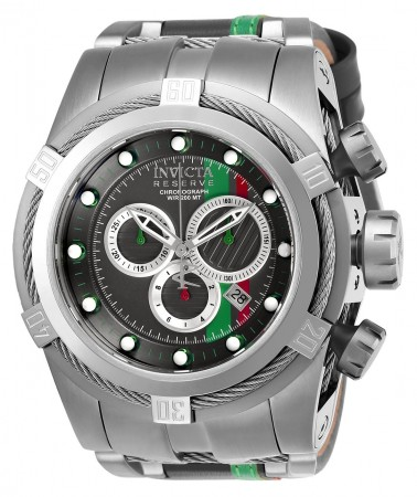 Men's Reserve Race Team Gun Metal Dial Gray/Stainless Steel Leather/Stainless Steel Band Quartz Watch