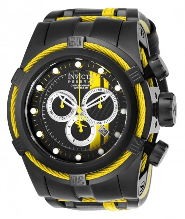 Men's Reserve Race Team Blue Dial Black/Yellow Leather/Stainless Steel Band Quartz Watch