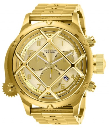 Men's Russian Diver Gold Dial Gold Stainless Steel Band Quartz Watch