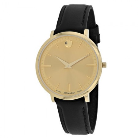 Women's Ultra Slim Gold Tone Dial Black Leather Band Quartz Watch