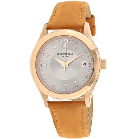 Women's Classic Grey Dial Brown Leather Band Quartz Watch