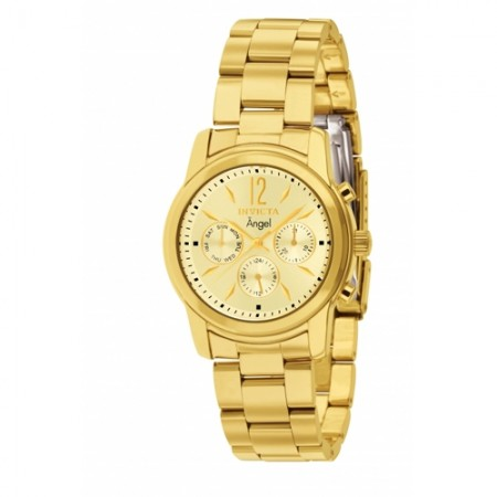 Women's Angel Gold Dial Gold Tone Stainless Steel Band Quartz Watch