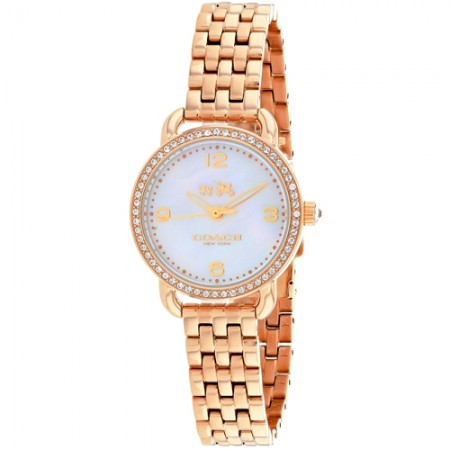 Women's Delancey White Dial Rose Gold-Tone Stainless Steel Band Quartz Watch