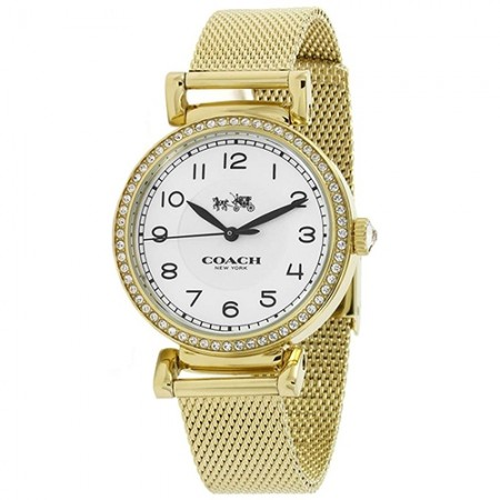 Women's Madison White Dial Gold-Tone Stainlesss Steel Mesh Band Quartz Watch