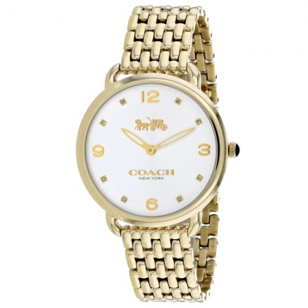 Women's Delancey Slim Gun Metal Dial Gold-Tone Stainless Steel Band Quartz Watch