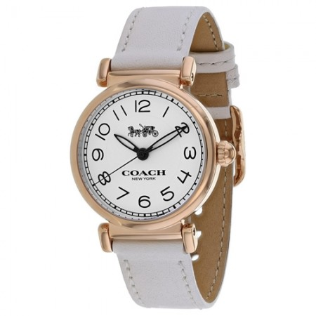 Women's Madison White Dial White Leather Band Quartz Watch
