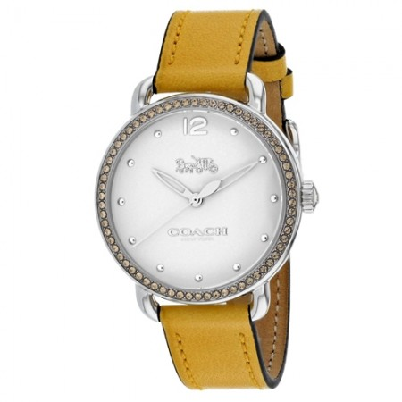 Women's Delancey White Dial Yellow Leather Band Quartz Watch