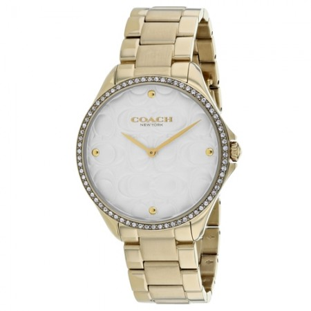Women's Modern Sport White Dial Gold-Tone Stainless Steel Band Quartz Watch