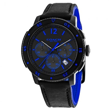 Men's Classic Black Dial Black Leather With Silicone Band Quartz Watch