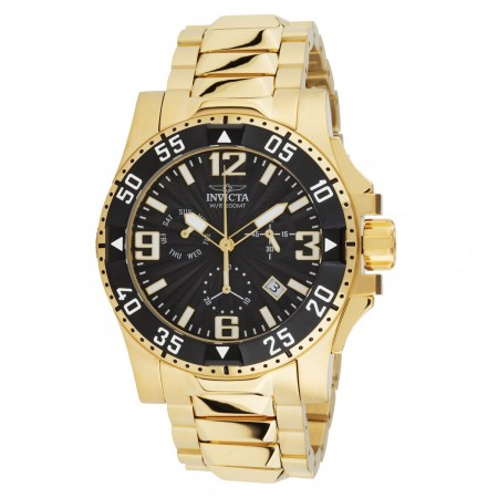 Men's Excursion Black Dial Gold Stainless Steel Band Quartz Watch