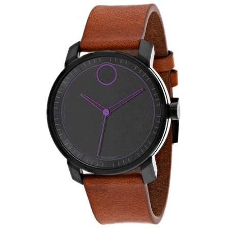 Men's Bold Black Dial Brown Leather Band Quartz Watch