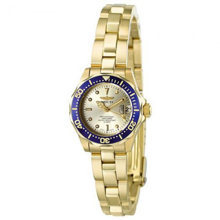 Women's Pro Diver Gold Dial Gold Tone Stainless Steel Band Quartz Watch