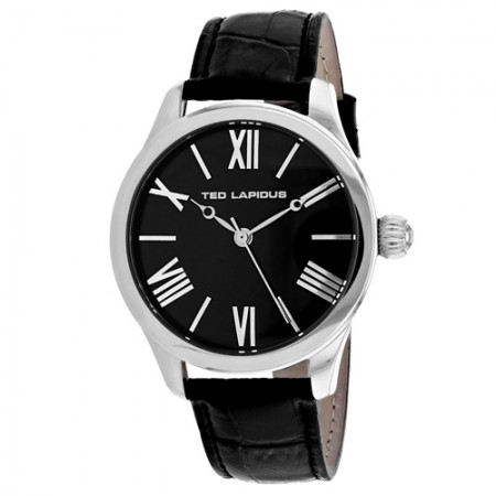 Men's Classic Black Dial Black Leather Band Quartz Watch