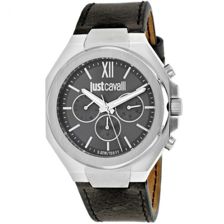 Men's Strong Grey Dial Grey Leather Band Quartz Watch