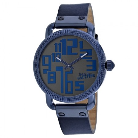 Men's Index Blue Dial Blue Leather Band Quartz Watch