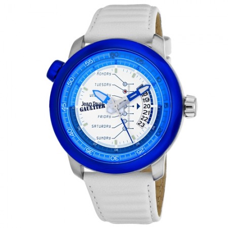 Men's Cockpit White Dial White Leather Band Quartz Watch