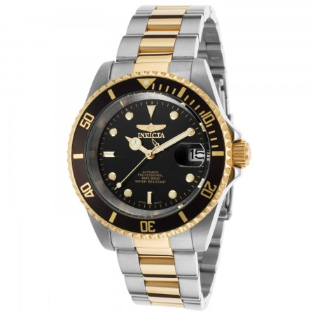 Men's Pro Diver Black Dial Gold/Stainless Steel Stainless Steel Band Automatic Watch
