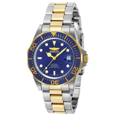 Men's Pro Diver Blue Dial Gold Tone, Stainless Steel Stainless Steel Band Automatic Watch