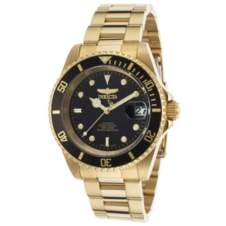 Men's Pro Diver Black Dial Gold Tone Stainless Steel Band Automatic Watch