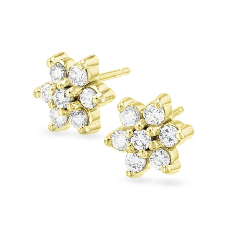 Round Diamond Flower Stud Earrings in 14kt White or Yellow Gold