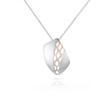 925 Sterling Silver Artistic Pendant Accented with Rose Gold Plated Sterling Silver