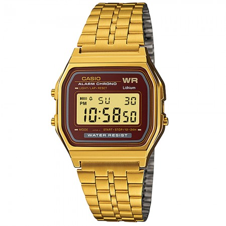 Men's Digital Digital Dial Gold-Tone Stainless Steel Band Quartz Watch