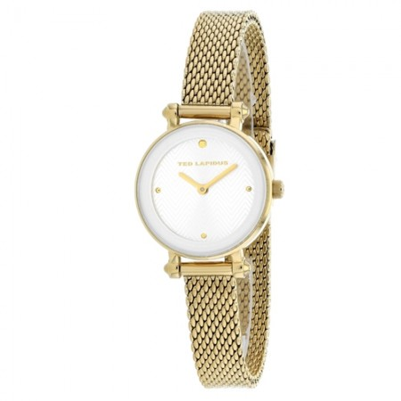 Women's Classic Gun Metal Dial Gold-Tone Mesh Band Quartz Watch