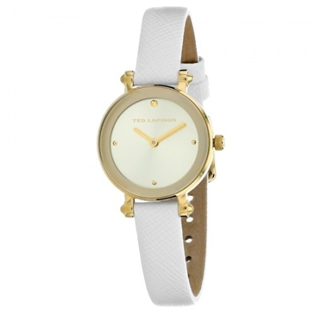 Women's Classic Gold-Tone Dial White Leather Band Quartz Watch