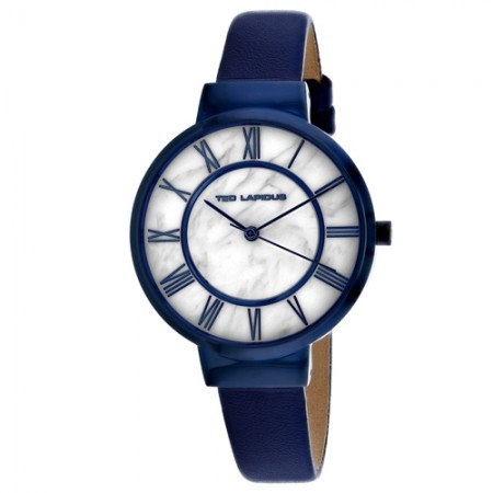 Women's Classic Marble White Dial Blue Leather Band Quartz Watch