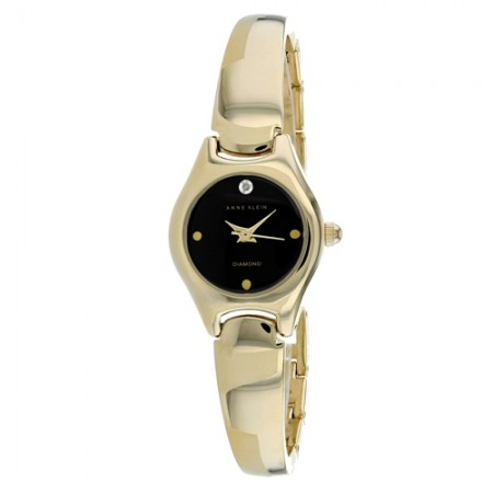 Women's Classic Black Dial Gold-Tone Stainless Steel Band Quartz Watch