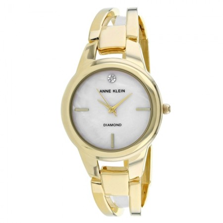 Women's Classic Mother of Pearl Dial Gold-Tone Stainless Steel Band Quartz Watch