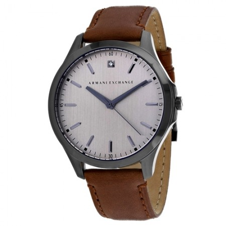 Men's Classic Grey Dial Brown Leather Band Quartz Watch