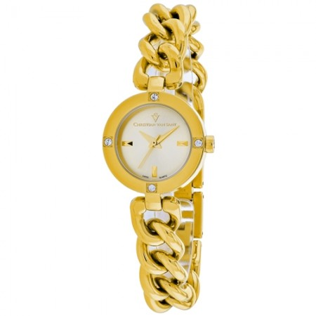 Women's Sultry Gun Metal Dial Gold-Tone Stainless Steel Band Swiss parts Quartz Watch